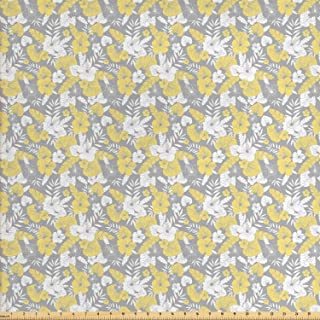 Ambesonne Luau Fabric by The Yard, Hawaiian Vegetation Flowers Abstract Summertime Botanical Composition, Decorative Fabric for Upholstery and Home Accents, 3 Yards, Yellow Grey