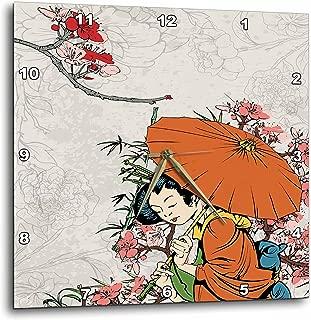 3dRose DPP_119153_3 Lovely Japanese Geisha with Umbrella and Sakura Cherry Blossom Flowers Asian Oriental Illustration Wall Clock, 15 by 15-Inch