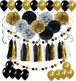 Cocodeko Diy Paper Pom Poms with Tissue Paper Tassel, Polka Dot Garland, Hanging Swirl Decorations and Balloon Kit for Birthday Wedding Showers Party Decorations - Black