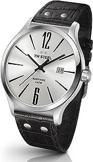 تي دبليو ستيل ساعة يد رجاليه بسوار جلد، TW1301