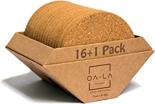 Natural cork coasters for drinks - Premium pack of 16 in Gift Box holder, rounded-edge, absorbent, 100% eco-friendly, heat-resistant, protective, durable, ideal for glasses, cups & mugs - by OALA