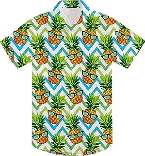 Boys Teens 3D Hawaiian Shirts Summer Casual Tropical Beach Holiday Party Short Sleeve Button Down Aloha Shirt 7-14T