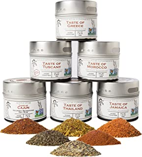 Gourmet World Flavors Seasoning Collection | Non GMO Verified | 6 Magnetic Tins | Spice Blends | Crafted in Small Batches ...