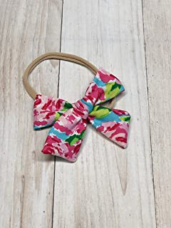 Pink Floral Baby Bow On Nylon Headband Or Alligator Clip Handmade for Infant Newborn or Toddler