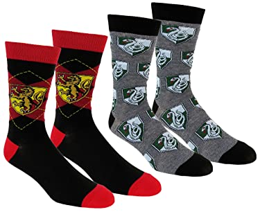 Harry Potter Mens Slytherin & Gryffindor Casual Crew Socks 2 Pair Pack (Red/Green) One Size
