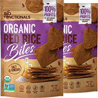 Organic Red Rice Crackers Gluten Free Crackers, Salt & Vinegar, rice cake chips, savory rice snack thins, good social caus...