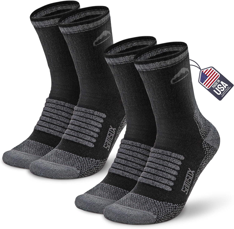 Samsox 2-Pair Merino Wool Hiking Socks, Made in USA 3/4 Crew Cushioned Walking & Boot Socks for Women & Men