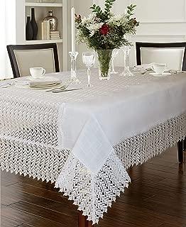 Violet Linen Lisbon Modern Embroidered Runner Design, Macrame Lace Border Seats 6 to 8 Pepole, Rectangle, Tablecloth, 60