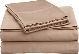 Superior 100% Premium Combed Cotton, 4-Piece Sheet and Pillowcase Cover Set, Solid, Split King - Taupe