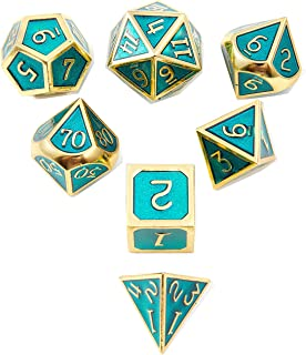 DND Polyhedral Metal Game Dice Gold and Ice Blue 7pc Set Dungeons Dragons DND RPG MTG Table Games D&D Pathfinder Shadowrun Math Teaching