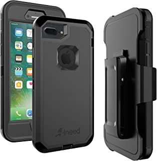 ALNEED iPhone 8 Plus Case,iPhone 7 Plus Case Heavy Duty Drop Protection Tough Rugged Rubber Hybrid Hard Shell Cover Case with Holster Belt Clip Screen Protector for iPhone 7/8 Plus [5.5 inch] (Black)