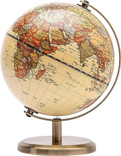 EXERZ 14cm Antiker Globus- Englische Karte - Metallbasis Bronzierte Farbe - Pädagogische/geografische/Moderne Schreib...
