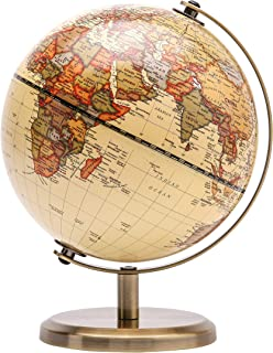 Exerz Antique World Globe (Dia 14CM)- Stainless Steel Arc and Base - Educational/Geographic/Modern Desktop Decoration -Wor...
