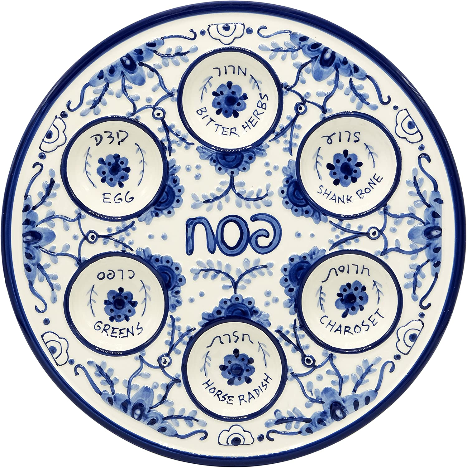 Passover Seder Plate For Pesach Food Ceramic 12 Blue White Delft Look Kitchen Dining