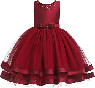 Glamulice Girls Ruffles Vintage Embroidered Sequins Lace Wedding Dress Party Bridesmaid Gown 2-16Y