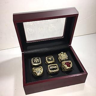 USA SHIPPER Set of 6 Michael Jordan #23 Chicago Bulls Championship 1991, 1992, 1993, 1996, 1997, 1998 Replica Ring W/Box-Size Gold Color Collectible
