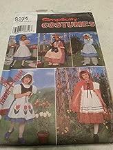 Simplicity 8234 Toddler Girls Nursery Rhymn Characters Costume Pattern Size 3 to 6, Riding Hood, Bo Peep, Dutch Girl, Betty Ross, Alice