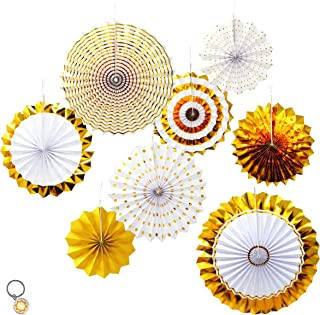 Mandala Crafts Hanging Circle Paper Fan Set for Party, Event, Birthday, Wedding, Tree, Wall, Backdrop Decoration (8, Gold Glitter)