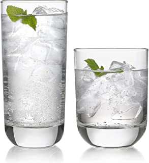 Libbey Polaris 16-Piece Tumbler and Rocks Glass Set, Clear