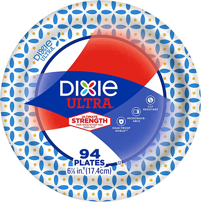 Dixie Ultra Disposable Paper Plates 6 7 8 In Dessert Size Printed 94 Count