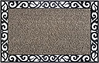 GrassWorx Clean Machine Wrought Iron Stems and Leaves Doormat, 24