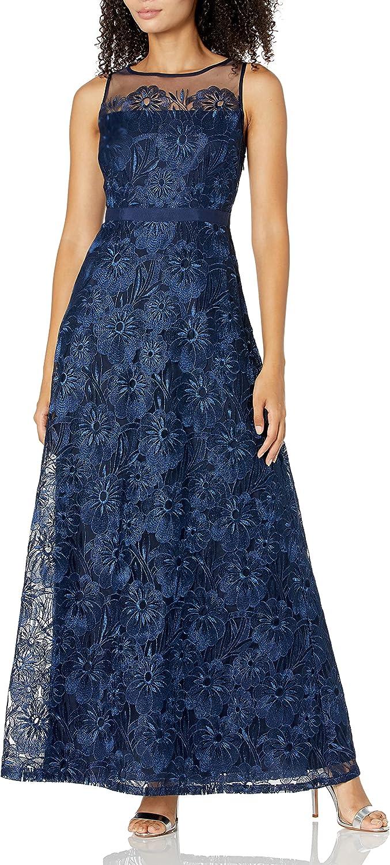 Adrianna Papell Women's Long Metallic Embroidered Dress Petite