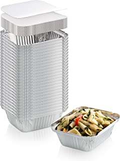 50-Pack Heavy Duty Disposable Aluminum Oblong Foil Pans with Lid Covers | 100% Recyclable Tin Food Storage Tray | Extra-Sturdy Containers for Cooking, Baking, Meal Prep, Takeout 1 LB 5 x 4 x 2