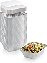 50-Pack Heavy Duty Disposable Aluminum Oblong Foil Pans with Lid Covers   100% Recyclable Tin Food Storage Tray   Extra-Sturdy Containers for Cooking, Baking, Meal Prep, Takeout 1 LB 5 x 4 x 2