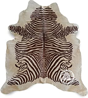 Zebra Brown Printed on Beige Cowhide Rug