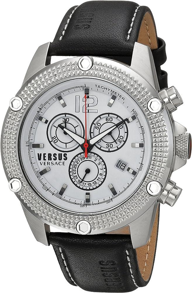 Versus versace orologio,cronografo per uomo,in acciaio inossidabile e cinturino in pelle SOC070015