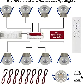 12W LED Funk Trafo 12V DC EEK A++ Mini Spot IP65 Warmweiss Inkl IP20 Erweiterbar bis zu 10 LEDs Fernbedienung VBLED/® 10er Basis Funk-Set 1W Mini-Einbauspot inkl