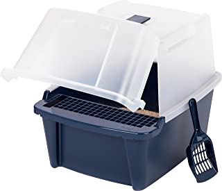 IRIS Large Split-Hood Litter Box with Scoop and Grate, Navy blue