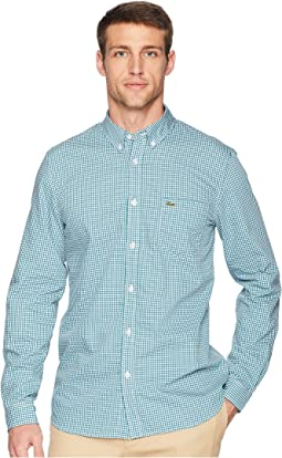 Long Sleeve Regular Fit Gingham Poplin Button Down