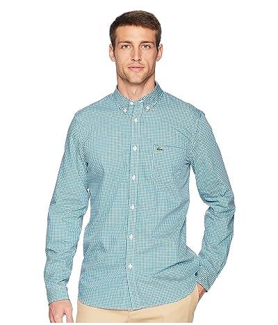 Lacoste Long Sleeve Regular Fit Gingham Poplin Button Down (Bailloux/White) Men