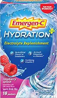 Emergen-C Hydration+ Sports Drink Mix With Vitamin C (18 Count, Raspberry Flavor), Electrolyte Replenishment, 0.33 Ounce P...