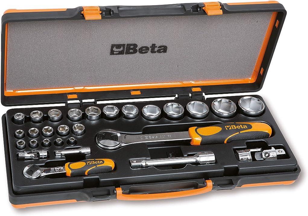 Chiavi a bussola esagonali e 6 accessori in cassetta di lamiera beta 902a/c22 set di 22