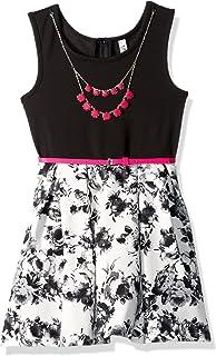 فستان Beautees للفتيات كبير بدون أكمام سادة أسود مطبوع عليه صورة متزلج