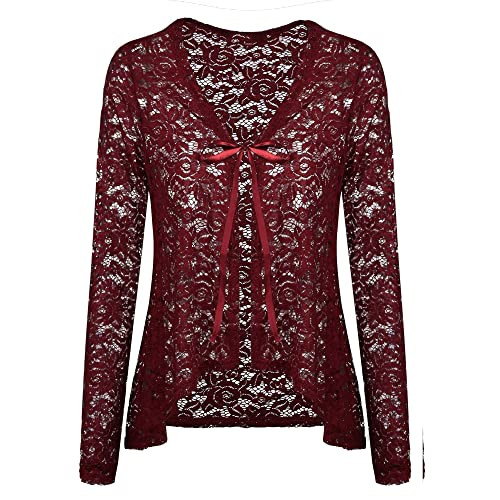 a76ac0084d23a5 Concep Women s Lace Cardigans Long Sleeve Open Front Assymetrical Cover Up  Jacket S-XXL
