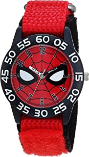 Boys Spider-Man Analog-Quartz Watch with Nylon Strap, red, 16 (Model: WMA000186)