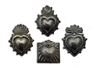 Small Hearts, Haitian Metal Milagro Charms, Set of 4, Love and Friendship, Unique Gifts, Handmade in Haiti, (Small Heart Sets)
