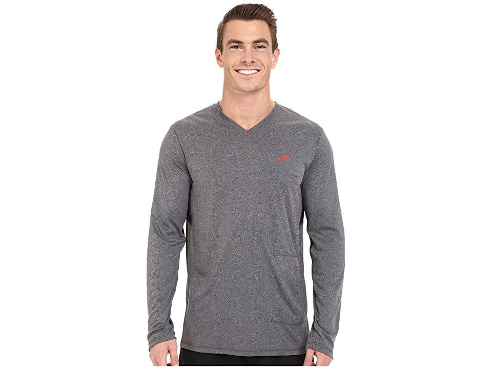 Speedo Heather Long Sleeve V-Neck Swim Tee (Heather Grey) Men