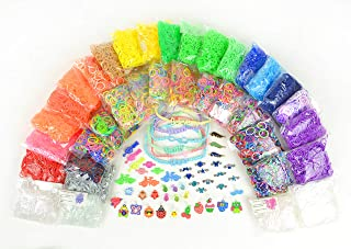 17,774+ Premium Rainbow Color Loom Bands - Bonus Includes 6 Inspirational Bracelets + Free Rubber Band Bracelet, Jewelry and Craft Project Sheet