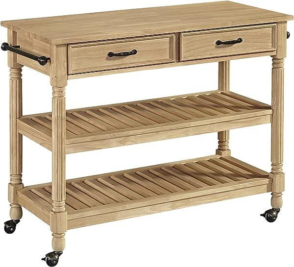 Savannah Natural Wood Kitchen Cart By Home Styles