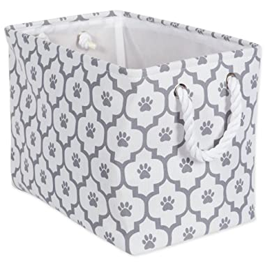 DII Bone Dry Medium Rectangle Pet Toy and Accessory Storage Bin, 16x10x12 , Collapsible Organizer Storage Basket for Home Décor, Pet Toy, Blankets, Leashes and Food-Gray Lattice Paw Print