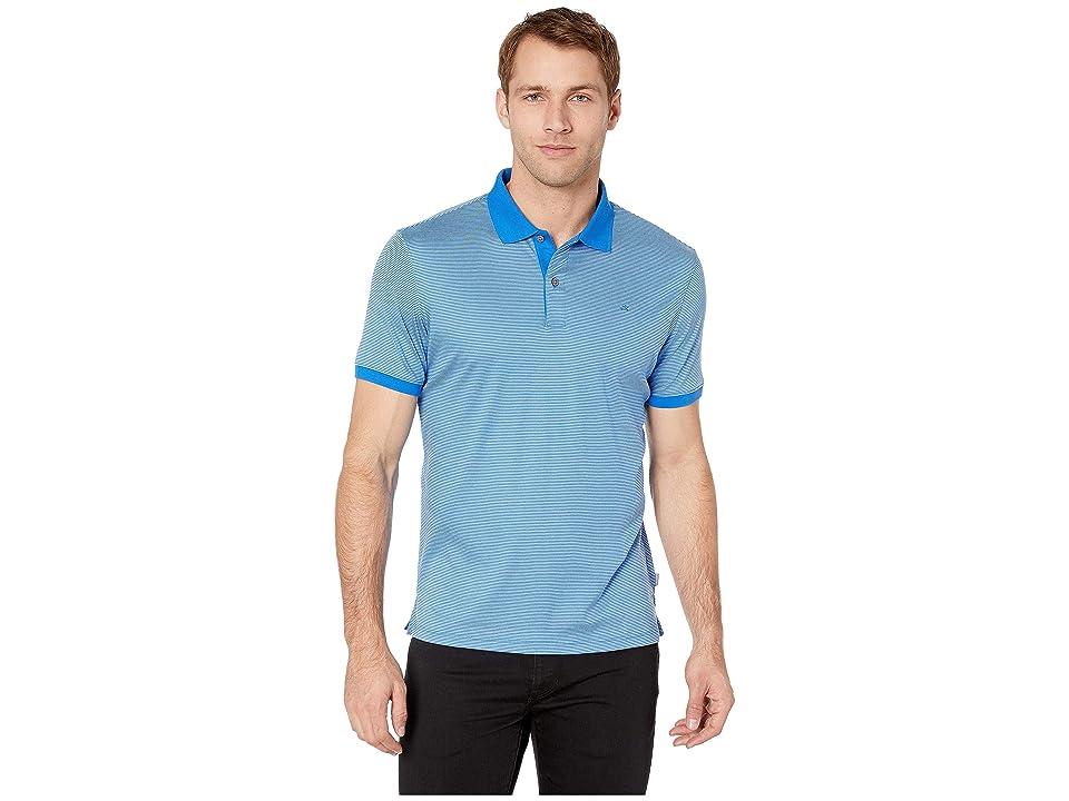 Calvin Klein S/S 2 Button Liquid Cotton Interlock Polo (Blue Bell Combo) Men