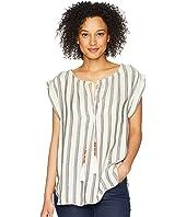 Havana Short Sleeve Soft Rayon Top with Tassel Tie