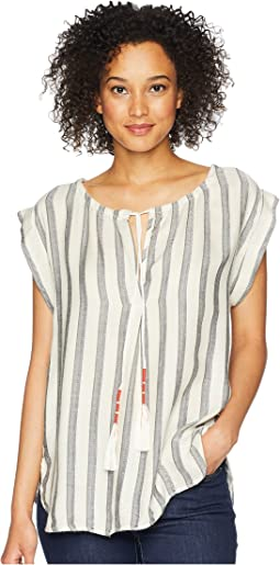 Havana Short Sleeve Soft Rayon Top with Tassel Tie