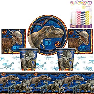 """Jurassic World Party Supplies Pack Serves 16: 9"""" Plates Luncheon Napkins Cups and Table Cover with Birthday Candles (Bundle for 16)"""