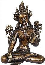 Tibetan Buddhist Goddess White Tara, Her Hands in Varada Mudra - Brass Sculpture - Color Antique Gold Color