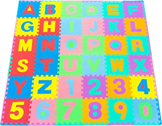ProSource Kids Foam Puzzle Floor Play Mat with Shapes & Colors or Numbers & Alphabets, 36 Tiles, 12